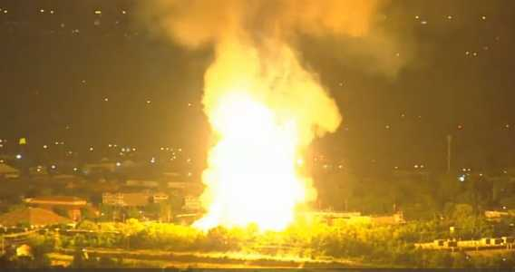 Photo of explosion and fire.